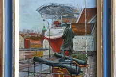 "Andrey Belevich ""Statuen ved Gamle Stavanger"" Oljemaleri (26x21 cm) kr 2700 mr"