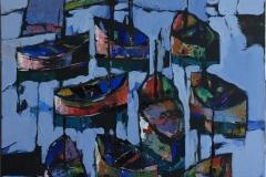 "Bjørn-Chr. Røed ""Stille på havna"" Akrylmaleri (100x80 cm) kr 14000 ur"