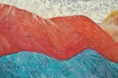 """Julia Mordvinova Gilje """"Red dream"""" Oljemaleri (40x100 cm) kr 7500 ur"""