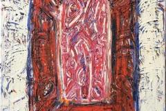 """Kjell Pahr-Iversen """"Ikon, rød kjerne"""" Oljemaleri (100x70 cm) kr 45000 ur"""