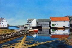 "Odd-Geir Hadland ""Fra Austevoll"" Oljemaleri (60x80 cm) kr 17000 ur"