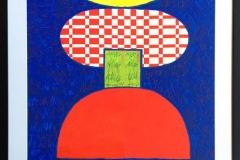 "Pia Myrvold ""Timeconstruction, blue"" Akryl påpapir (86x58 cm) kr 9500 mr"