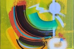 "Terry Nilssen-Love ""Swing"" Akrylmaleri (50x50 cm) kr 8000 ur"