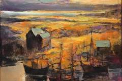 Arne Kleng Dahle Skipene Akrylmaleri (80x80 cm) kr 11000