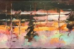 Arne Kleng Dahle Skogstjern Akrylmaleri (50x100 cm) kr 9000