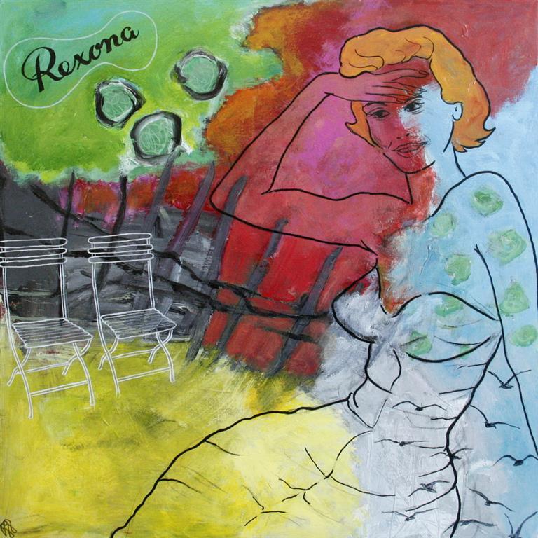 Tidens kvinner 1950 Akrylmaleri 70x70 cm 4000 mr