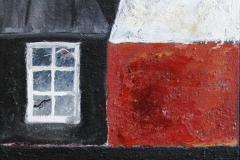 Gammel hytte Akrylmaleri 40x40 cm 2200 mr