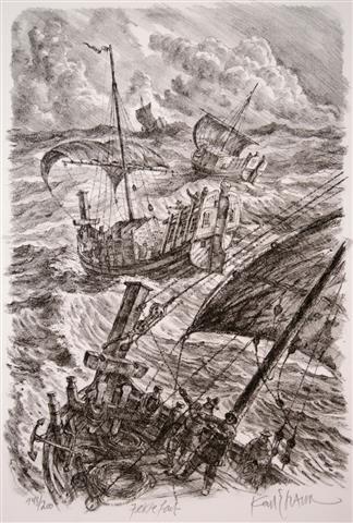 Jektefart Litografi 39x26,5 cm 3500,-kr u.r.