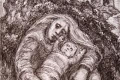 Mor og barn Litografi 22x13 cm 1200,-kr u.r.