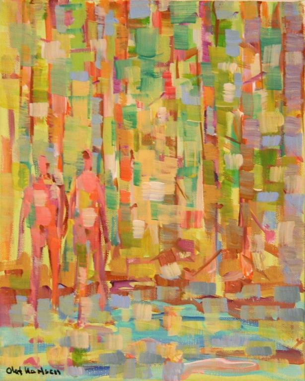I skogen I Akrylmaleri (30x25 cm) kr 3000 mr