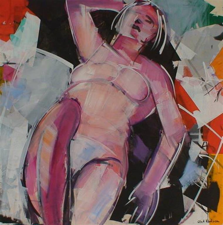 Liggende akt Akrylmaleri (80x80 cm) kr 12000 ur