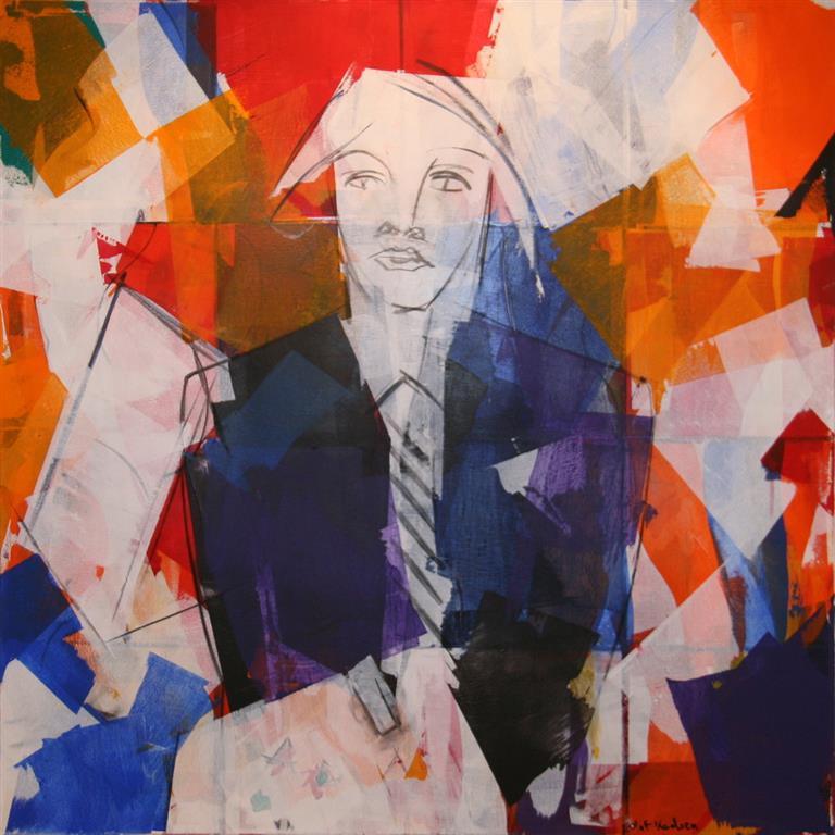 Portrett Akrylmaleri (80x80 cm) kr 10000 ur