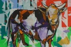 Oksen Akrylmaleri (100x100 cm) kr 13500 ur