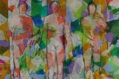 Tre kvinner i skog Akrylmaleri (100x100 cm) kr 15000 ur