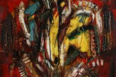 Abstract in red Oljemaleri 80x100 cm 8000 ur