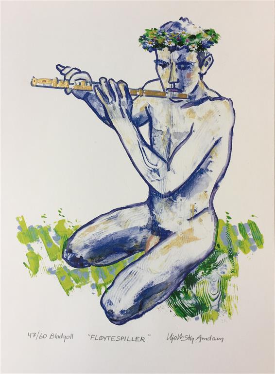 Fløytespiller Serigrafi med bladgull (39x30 cm) kr 1800 ur