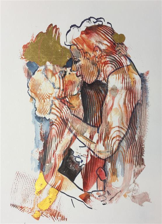 Morgenkyss Serigrafi med bladgull (40x27 cm) kr 2000 ur