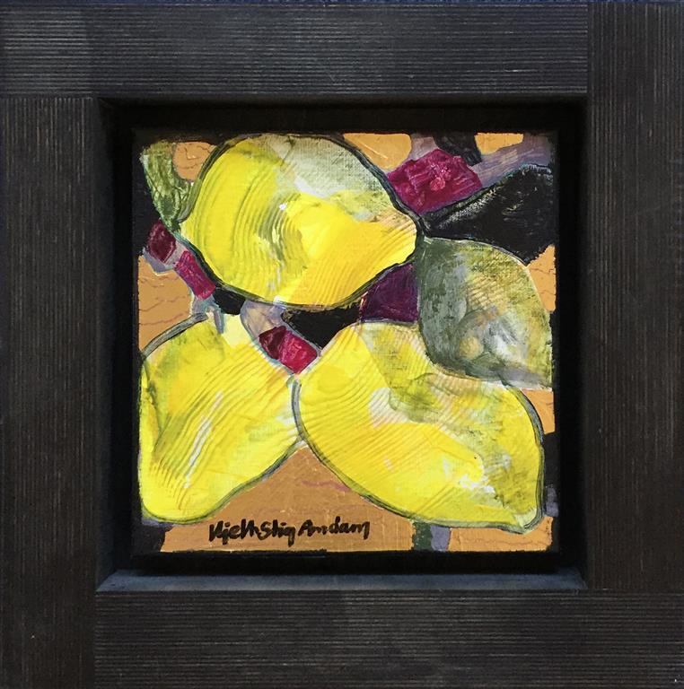 Sitrongult I Akrylmaleri med bladgull (27x27 cm) kr 6500 mr