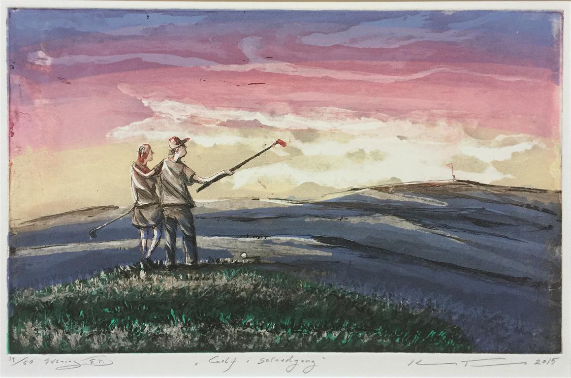 Golf i solnedgang Etsning (25x40 cm) kr 1800 ur