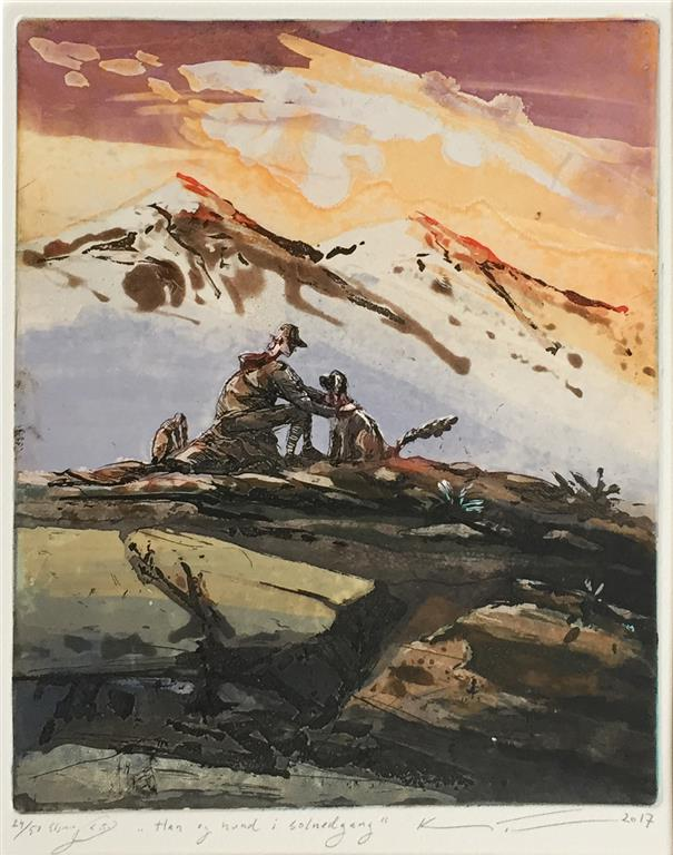 Han og hund i solnedgang Etsning (28x23 cm) kr 1800 ur