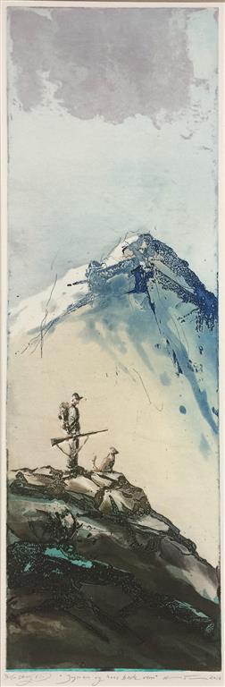 Jegeren og hans beste venn Etsning (64x20 cm) kr 2900 ur