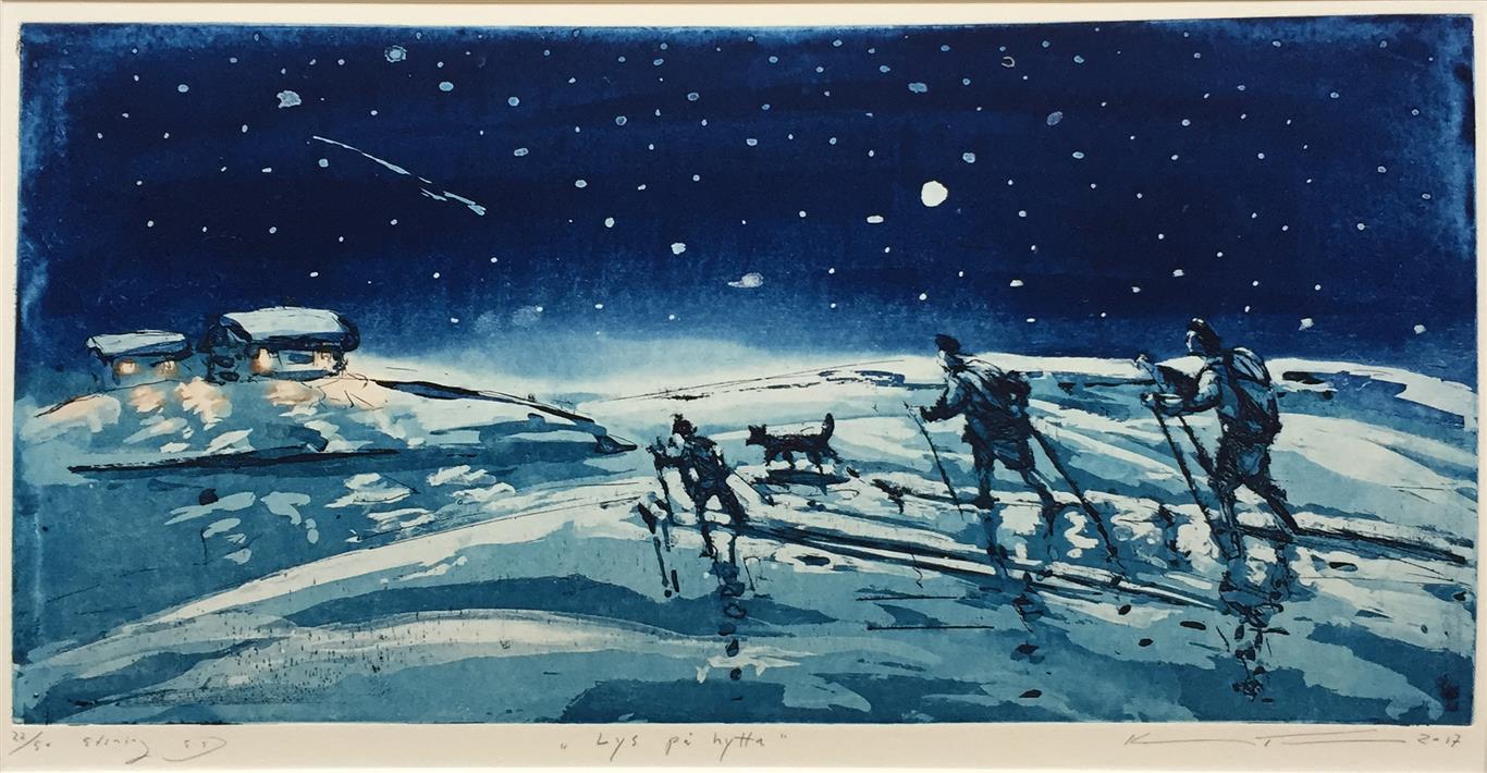 Lys på hytta Etsning (25x50,5 cm) kr 2500 ur