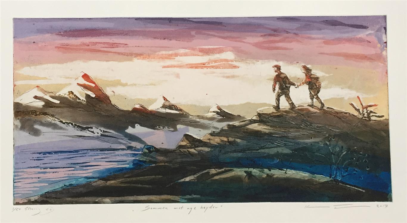 Sammen mot nye høyder Etsning (24,5x49,5 cm) kr 2700 ur
