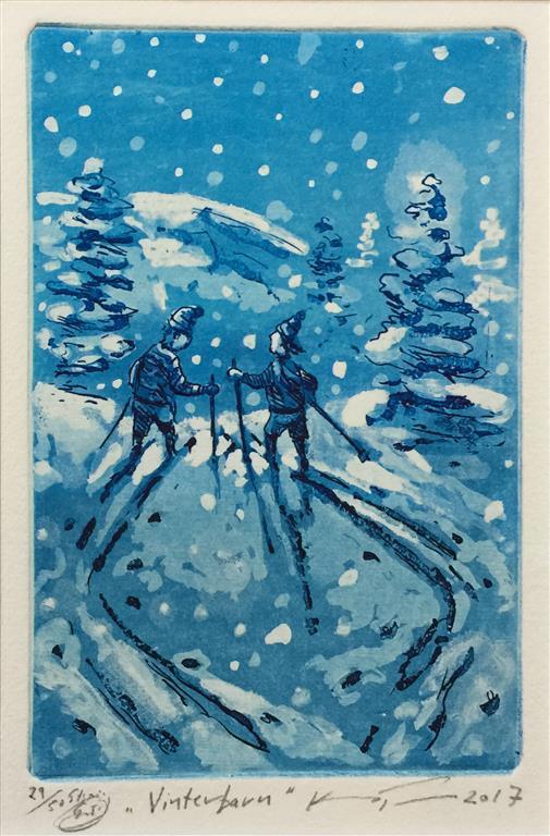 Vinterbarn Etsning 16x10 cm) kr 900 ur