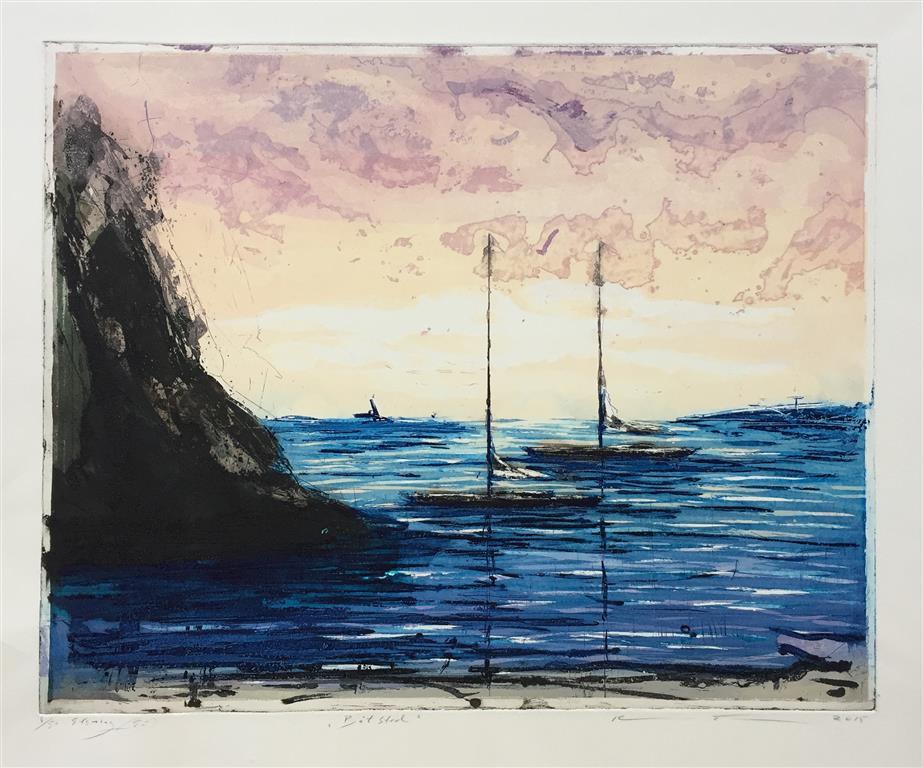 Båtsted Etsning (39x49 cm) kr 3000 ur
