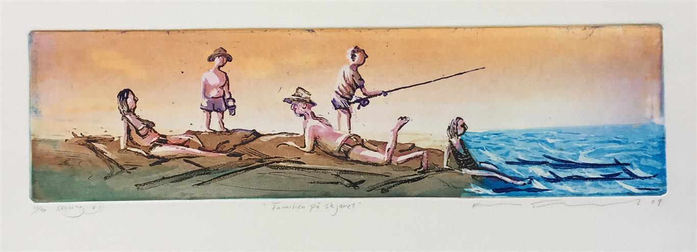 Familien på skjæret Etsning (11x40 cm) kr 1400 ur