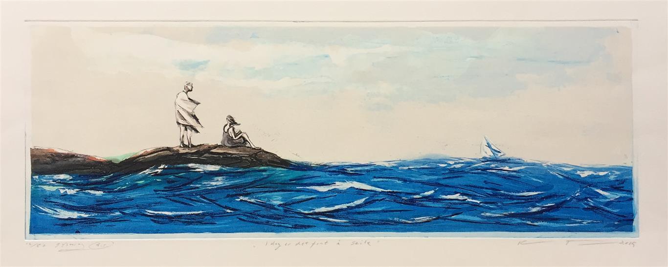 I dag er det fint å seile Etsning (25x70 cm) kr 2900 ur