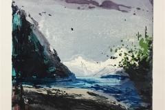 Berg ved fjorden Etsning (31x33 cm) kr 2500 ur