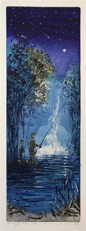Fiskere i natten Etsning 55,5x19,5 cm 1800 ur