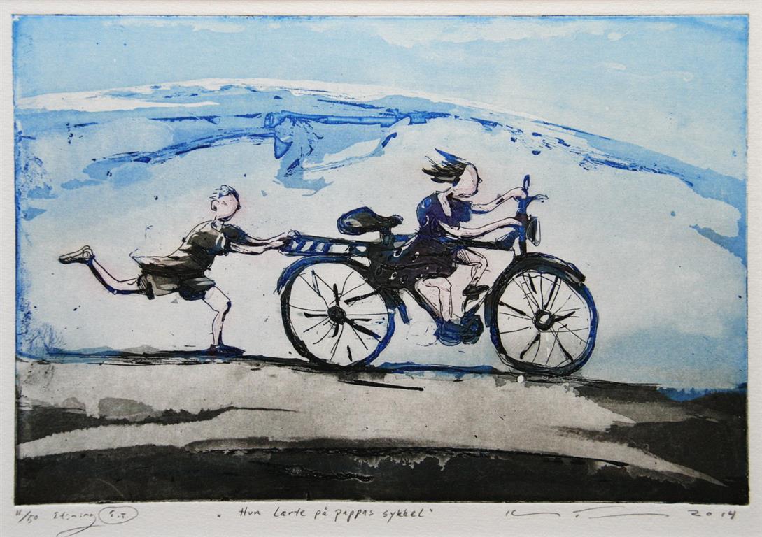 Hun laerte paa pappas sykkel Etsning 20x30 cm 1700 ur