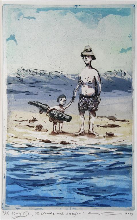 Paa stranda med bestefar Etsning 30x19 cm 1500 ur