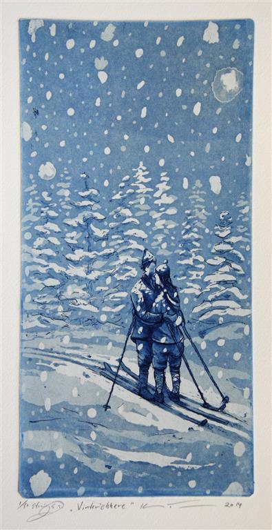 Vinterelskere Etsning 29,5x14,5 cm 1400 ur