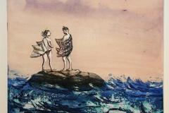De elskende og havet Etsning 29,5x34,5 cm 1800 ur