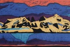 Sommernatt paa Svalbard Tresnitt 20x90 cm 2000 ur