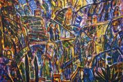 Pilgrimsmotiv Litografi 43x50 cm 1800 ur
