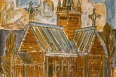 Stavkirke Litografi 50x35 cm 1400 ur