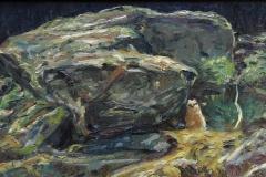 Hubrounge ved stein Oljemaleri 25x39 cm 5000 mr