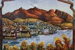 I Grytoøyas ly Tresnitt (50x52,5 cm) kr 6000 ur