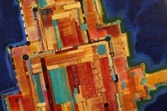 Borgund stavkirke Akrylcolour, pigment, blattgold 75x80 cm 15000 ur