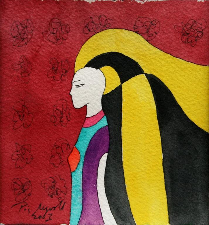 Yellow Hair Akvarell (12x12 cm) kr 2200 ur