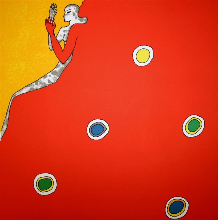 Rød profil Litografi (34x34 cm) kr 3500 ur
