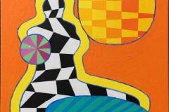 Piksel Venus in Orange Akrylmaleri (55x46 cm) kr 16000 ur