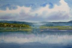 Stille morgen Akvarell 29x54cm 4000,-u.r