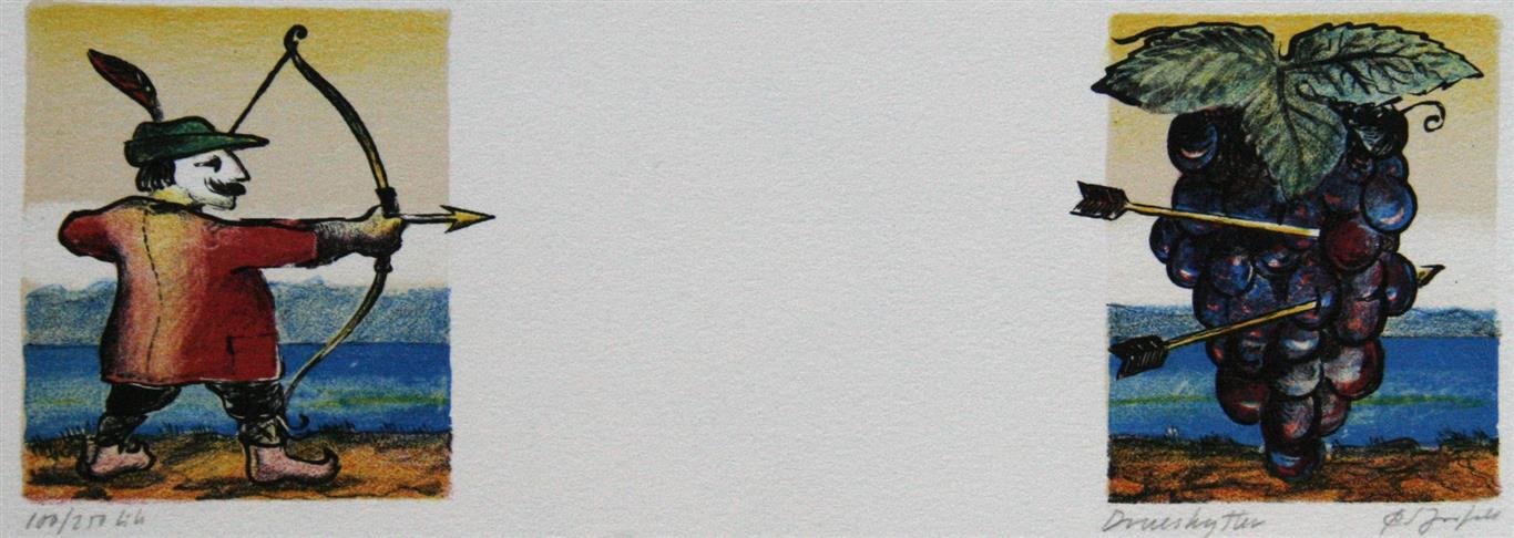 Drueskytter Litografi 8x24,5 cm 550 ur