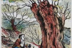 Droemmer under oliventreet Litografi 14x13 cm 500 ur