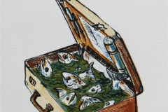 Oppdrettskoffert Litografi 12x9 cm 400 ur